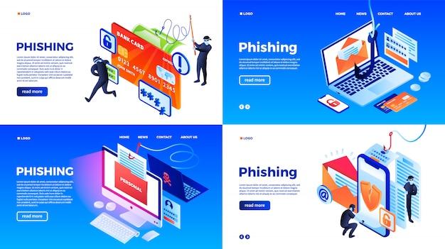 Conjunto de banners de phishing. conjunto isométrico de banner de vector de phishing para diseño web Vector Premium