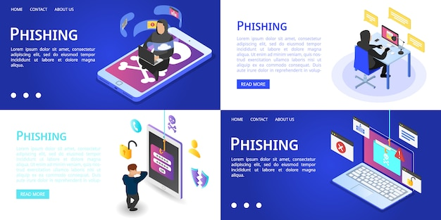 Conjunto de banners de phishing Vector Premium