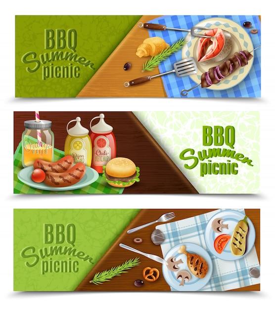 Conjunto de banners de picnic de verano de bbq vector gratuito