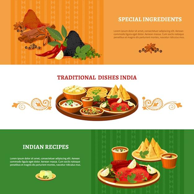 Conjunto de banners planos de cocina india vector gratuito