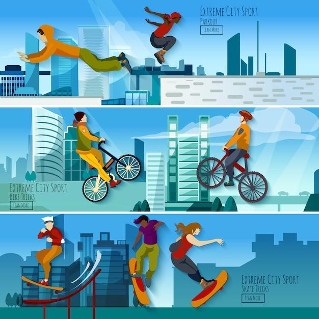 Conjunto de banners planos de extreme city sport vector gratuito