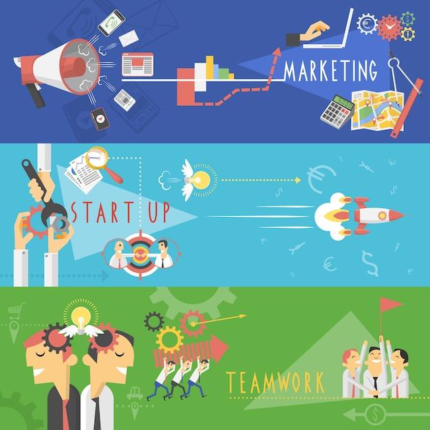 Conjunto de banners planos de marketing de negocios vector gratuito