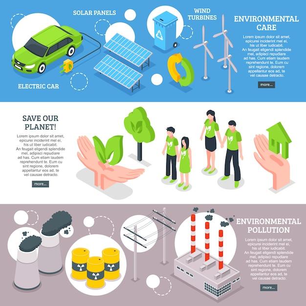 Conjunto de banners de preocupación ambiental vector gratuito