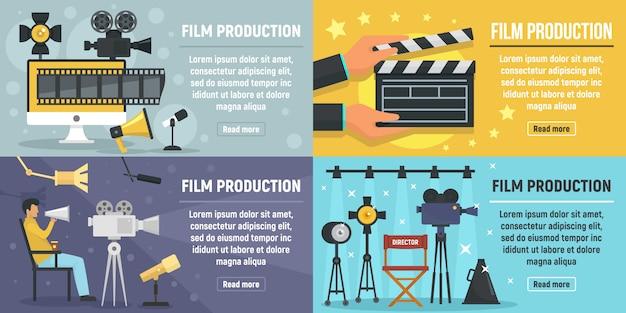 Conjunto de banners de producción de cine. Vector Premium