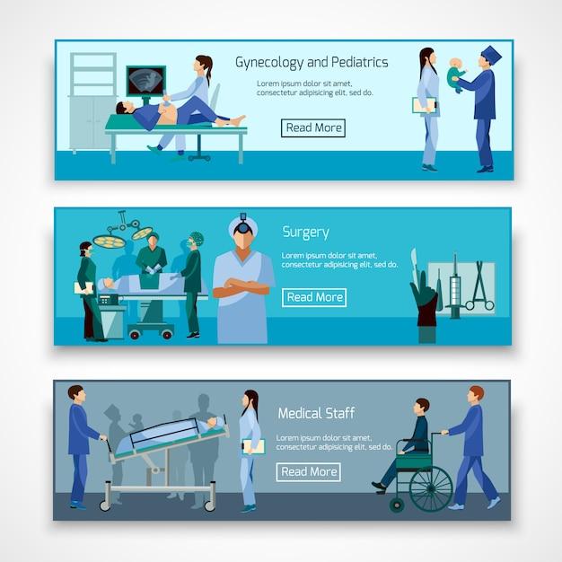 Conjunto de banners de profesionales médicos en el trabajo vector gratuito