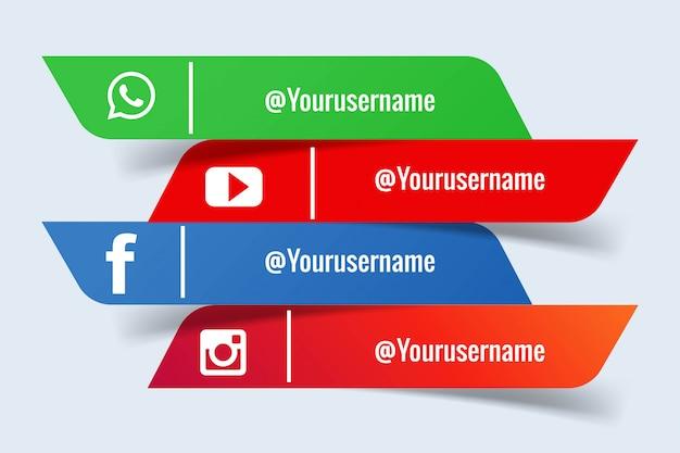 Conjunto de banners de redes sociales vector gratuito