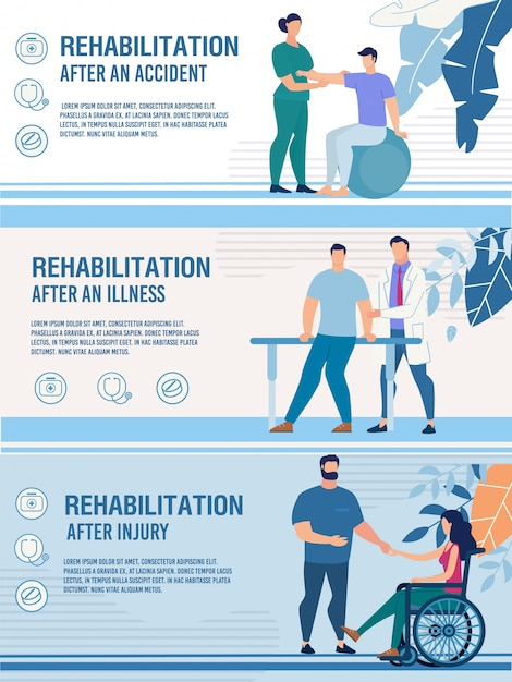 Conjunto de banners de rehabilitación de personas discapacitadas lesionadas Vector Premium