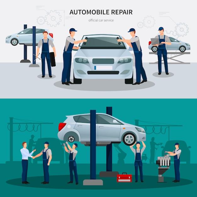 Conjunto de banners de reparación de automóviles vector gratuito
