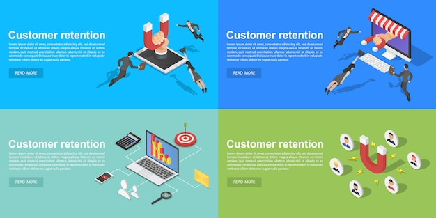 Conjunto de banners de retención de clientes, estilo isométrico. Vector Premium