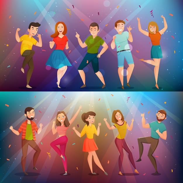 Conjunto de banners retro dancing people vector gratuito