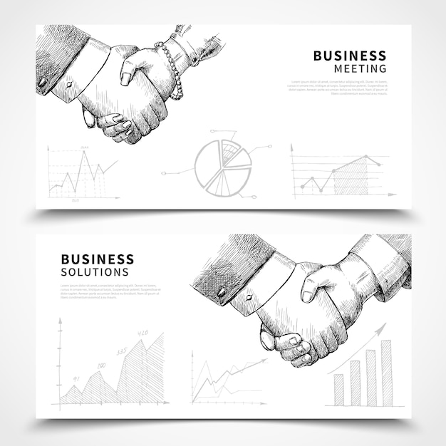 Conjunto de banners de reunión de negocios vector gratuito