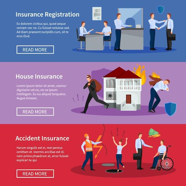 Conjunto de banners de seguros personales y de la casa. vector gratuito