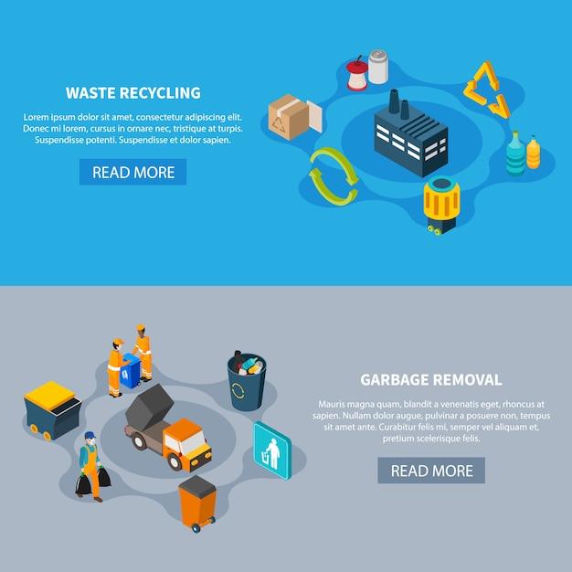 Conjunto de banners de separación de residuos vector gratuito