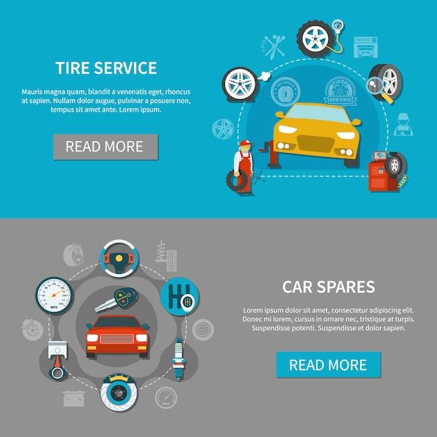 Conjunto de banners de servicio de neumáticos vector gratuito