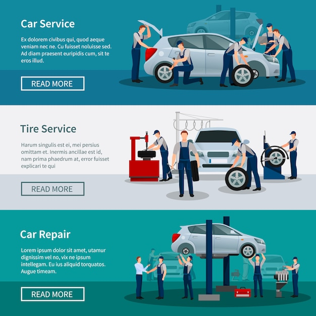 Conjunto de banners de servicios de reparación de automóviles vector gratuito