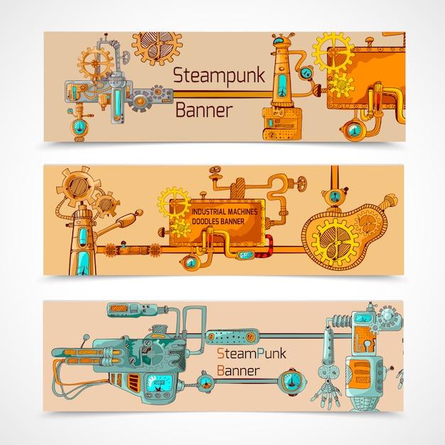 Conjunto de banners de steampunk vector gratuito