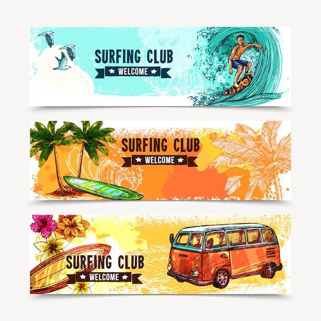 Conjunto de banners de surf vector gratuito