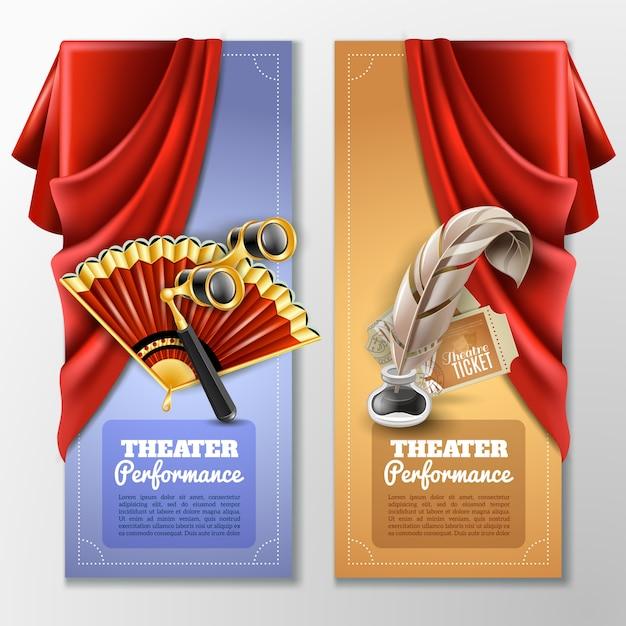 Conjunto de banners teatrales y escenarios vector gratuito