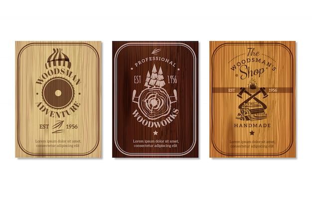 Conjunto de banners de textura de madera de leñador vector gratuito