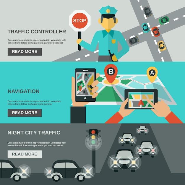 Conjunto de banners de tráfico vector gratuito