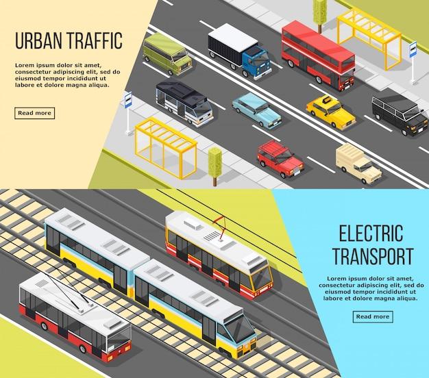 Conjunto de banners de transporte de la ciudad vector gratuito