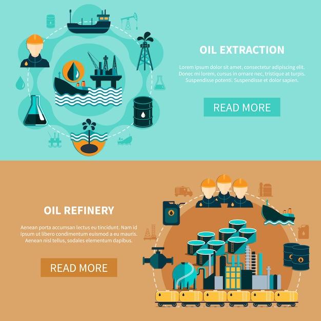 Conjunto de banners de transporte de petróleo vector gratuito