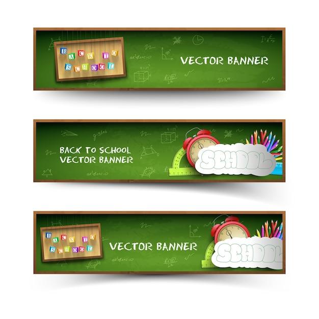 Conjunto de banners de tres escuelas verdes vector gratuito