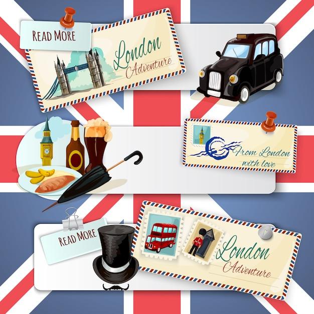Conjunto de banners turísticos de londres vector gratuito