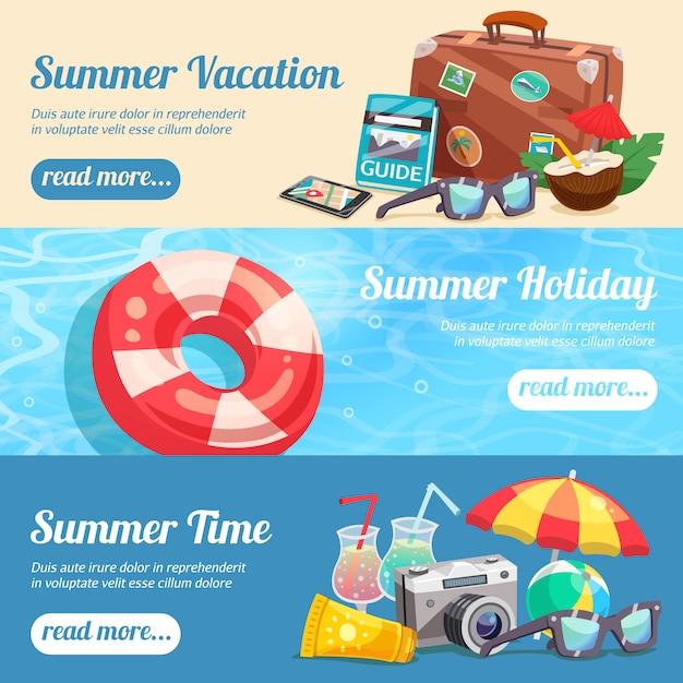 Conjunto de banners de vacaciones de verano vector gratuito