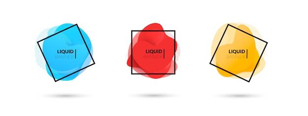 Conjunto de banners vector líquido abstracto moderno vector gratuito