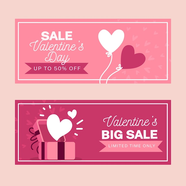 Conjunto de banners de venta de día de san valentín dibujados a mano vector gratuito