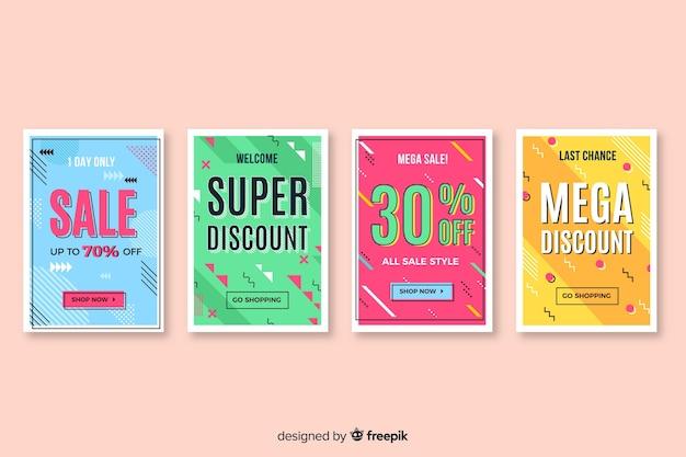 Conjunto de banners de venta en estilo memphis vector gratuito