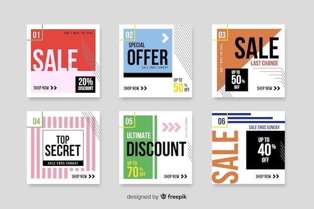 Conjunto de banners de venta moderna para redes sociales vector gratuito
