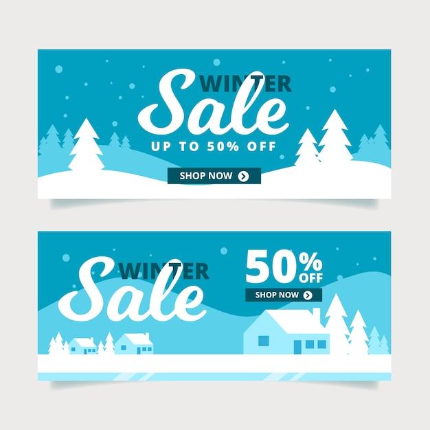 Conjunto de banners de venta plana de invierno vector gratuito