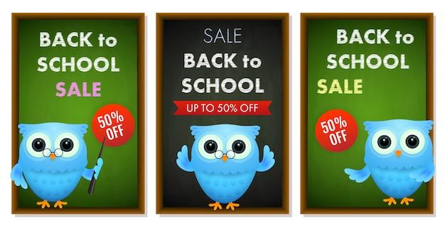 Conjunto de banners de venta de regreso a la escuela vector gratuito