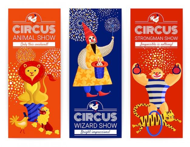 Conjunto de banners verticales de circo vector gratuito