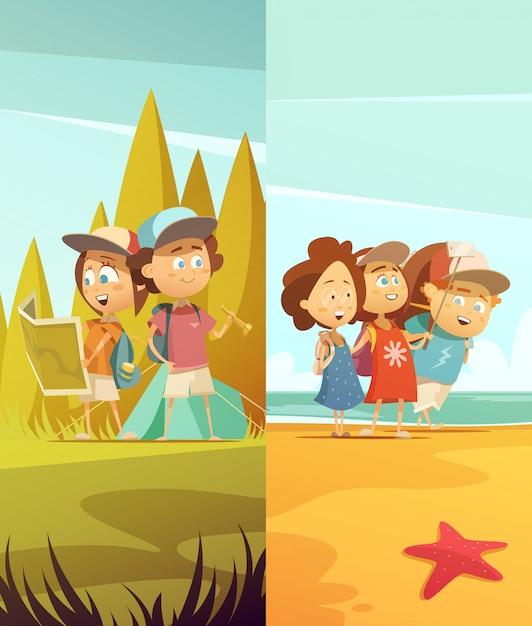 Conjunto de banners verticales para niños de camping. vector gratuito