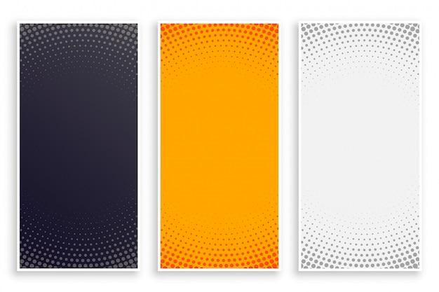 Conjunto de banners verticales vacíos de estilo abstracto de semitono vector gratuito