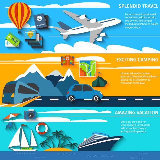 Conjunto de banners de viaje de vacaciones camping. vector gratuito