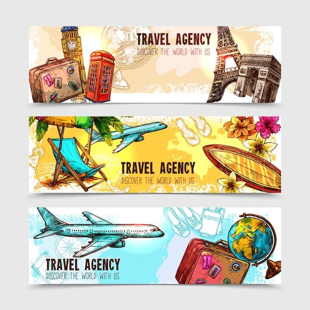 Conjunto de banners de viaje vector gratuito