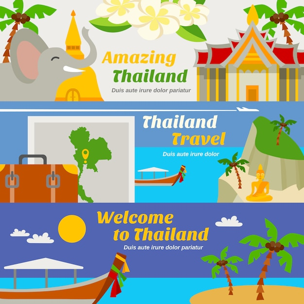 Conjunto de banners de viajes de tailandia vector gratuito