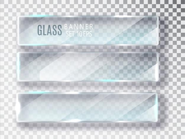 Conjunto de banners de vidrio. Vector Premium