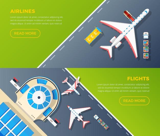 Conjunto de banners de vista superior del aeropuerto vector gratuito