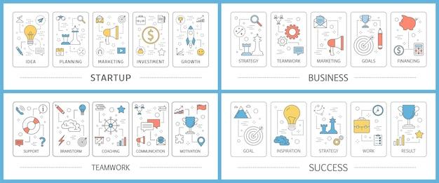 Conjunto de banners web de inicio de negocios. idea de creatividad Vector Premium