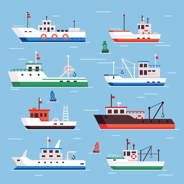 Conjunto de barcos de pesca plana Vector Premium