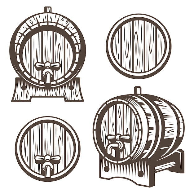 Conjunto de barriles de madera vintage en diferentes escorzos. estilo monocromático. aislado en fondo blanco vector gratuito