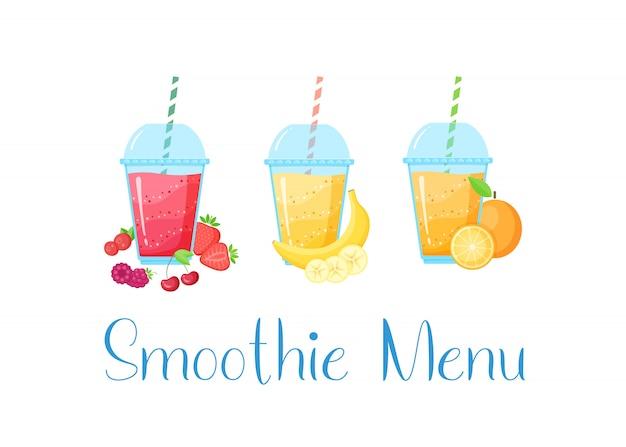 Conjunto de batidos de frutas naturales coloridos Vector Premium