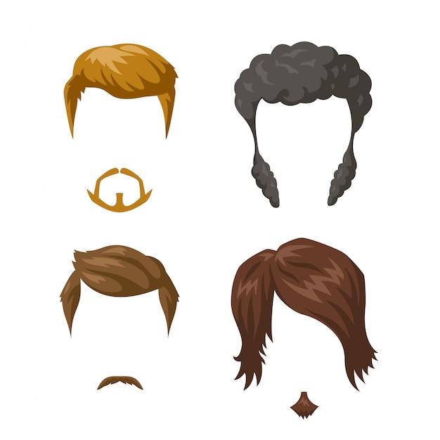 Conjunto de bigotes y peinados de barba. Vector Premium