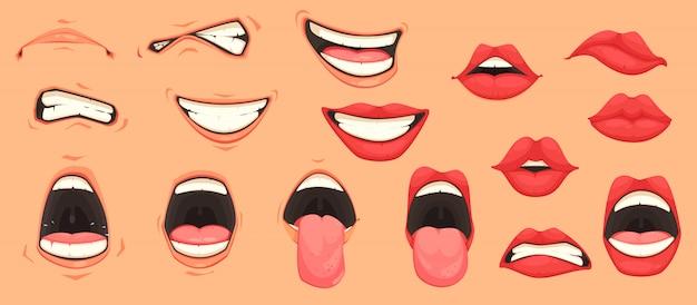 Conjunto de boca de dibujos animados vector gratuito