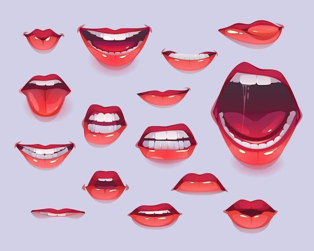 Conjunto de boca de mujer. labios sexy rojos expresando emociones vector gratuito